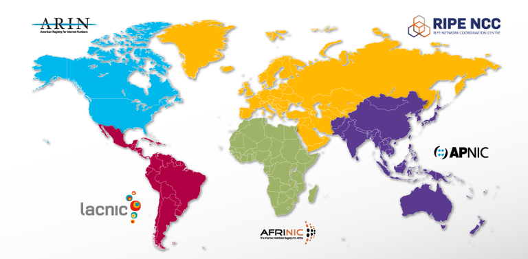 Overzicht van de verschillende RIRs en hun geografisch gebied.